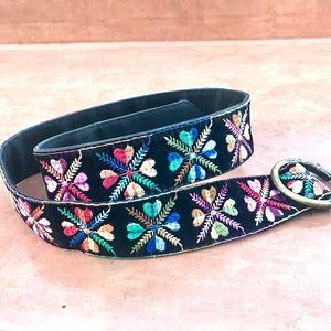 VINTAGE black velvet BELT rainbow floral embroider